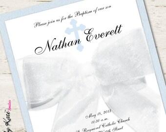 Boy Baptism Invitation Christening White Ribbon