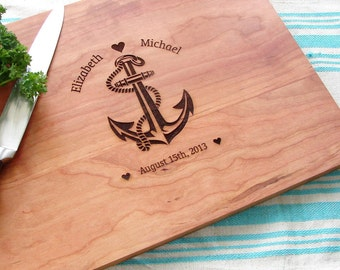 Personalized Anchor Cutting Board Wedding Gift Couple's Anniversary Gift Birthday Present Bridal Shower Gift