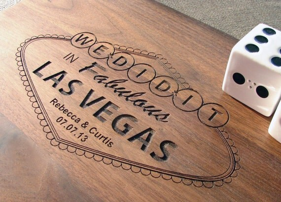 Personalized Cutting Board Married in Las Vegas Wedding Present Bridal Shower Gift Anniversary Present