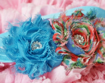 Shabby Rose Double flower turquoise blue rose and patterned rose on elastic head band