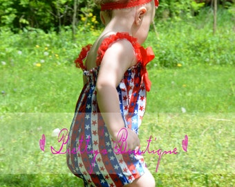 4th of July Outfit Fourth of july romper 4th of july outfit Patriotic Bubble Romper READY TO SHIP