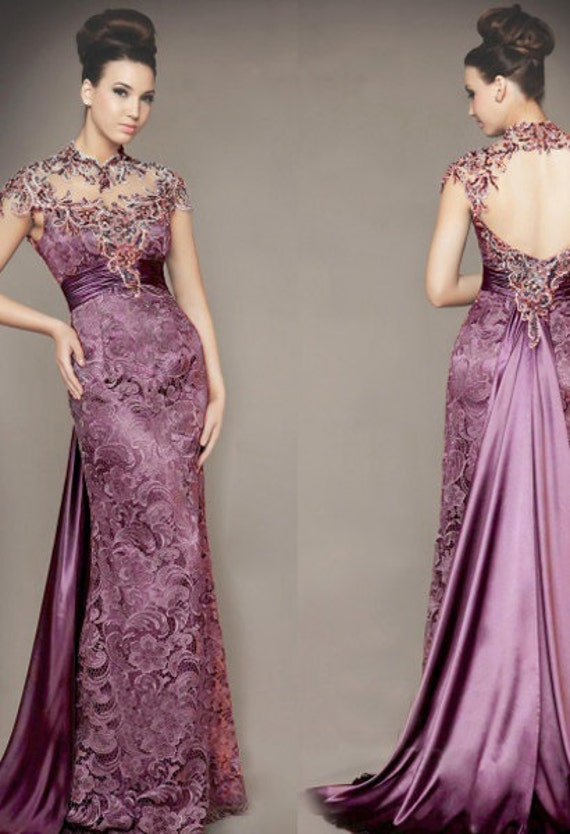 80\' vintage Venice purple lace wedding dress Stretch Satin inner ...