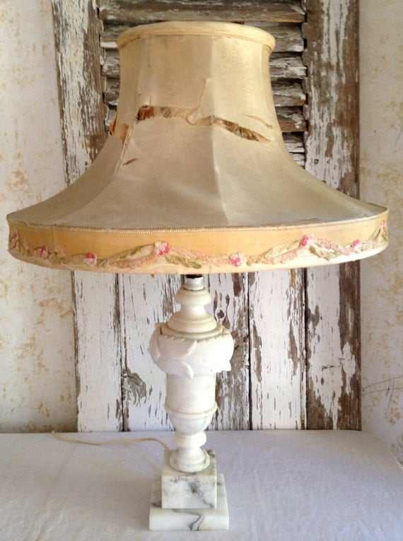 Sold Antique Alabaster Lamp With Antique Silk Lampshade