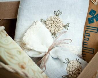 beauty set/hand towel/natural soap/lavender sachet/bath set/kitchen set /MADE TO ORDER