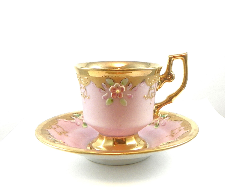 vintage demitasse cup and saucer gold pink flowers. Black Bedroom Furniture Sets. Home Design Ideas