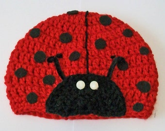 So Cute Red and Black Ladybug Hand Crocheted Baby and Childrens Hat Great Photo Prop 5 Sizes Available