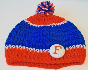 Gators Inspired Blue and Orange Hand Crocheted Baby and Childrens Pom Pom Hat Great Photo Prop 5 Sizes Available