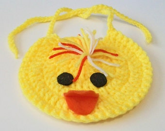 So Cute Hand Crocheted Bright Yellow Baby Chick Baby Bib Great Photo Prop Matching Hat Also Available