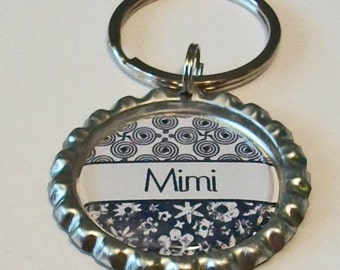 Black Damask Mimi Grandmother Metal Flattened Bottlecap Keychain Great Gift