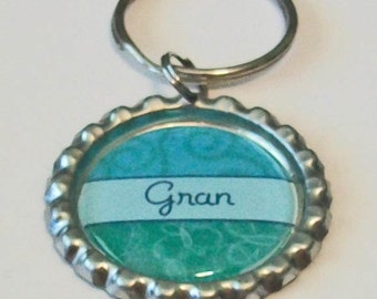 Teal Green Gran Grandmother Metal Flattened Bottlecap Keychain Great Gift