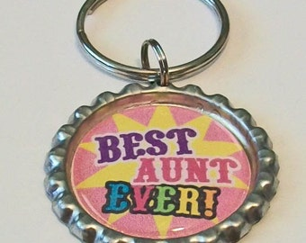 Pink and Yellow Best Aunt Ever Metal Flattened Bottlecap Keychain Great Gift