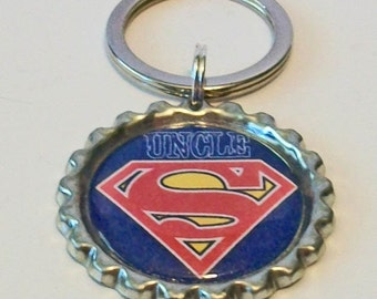 Red and Blue Super Uncle Metal Flattened Bottlecap Keychain Great Gift