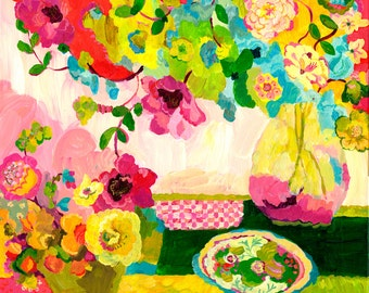 Pink Check Blossoms Giclee Print by Kimberly Hodges