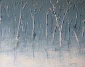 Expressionist Textured Original Painting Trees Snow Landscape Blue Cold 8 - JoeysArtOriginals