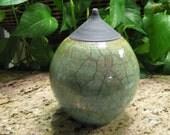 Green and Black Raku, stoneware, pottery,