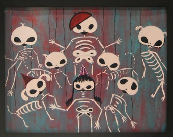 Day of the Dead Print from Original Painting by Dona Silver.  Skull Marionette. French baret.  Gothic art. Skeleton Dance