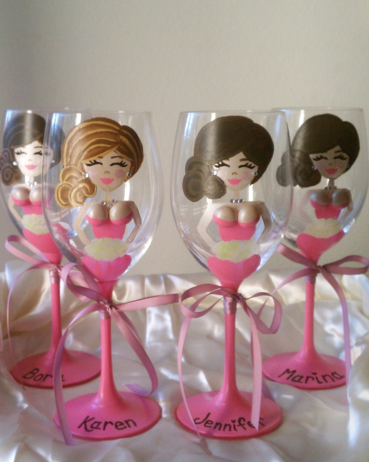 Wedding Gift Glasses Suggestions : 3D Boobs Personalized Bridesmaids Wine Glasses. by GlassBellas