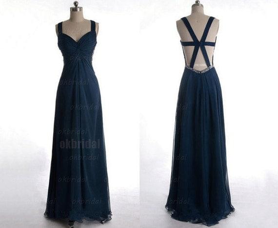 navy bridesmaid dress,  navy blue bridesmaid dress, backless bridesmaid dress, backless dress, chiffon bridesmaid dress, RE071