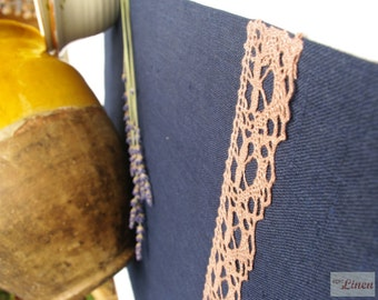CLEARANCE / Linen Table Runner with Lace Navy Blue