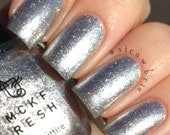 Laser Pointers - Indie Nail Polish Silver Metallic with Holographic Silver Glitter - by Mckfresh Nail Attire