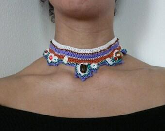 cotton necklace, purple necklace, cotton choker, necklace with beads,  cotton choker,  brown cotton necklace, necklace beads,