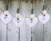 Woodland Wedding / Rustic Wedding / Wedding Place Card Holder / Wedding Favor / Clothespin Magnet / Forest Green Decor / White Rose / 12