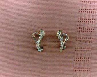 Jay Flex Sterling Screw On Rhinestone Earrings Vintage