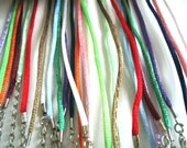 15pc mixed(15 colors)16-18nch adjustable satin rattail cords/necklace cords