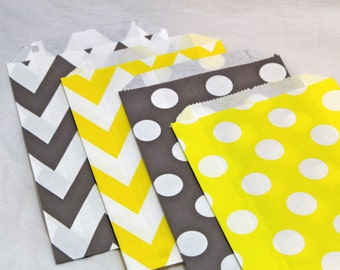 12 grey gray and yellow birthday party goodie favor paper bags chevron zig zag polka dotted