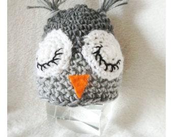 Owl hat,babyhotogrhy prop,newborn hat,owl baby hat,children hat,sleeping owl hat