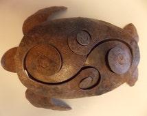 Large Sea Turtle 3D Metal Sculpture Art Free Standing Metallic Handcrafted Yard Garden Art