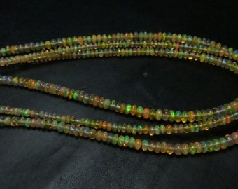 3 Strand X16 Inches  Wholesale Price Supper Top  Quality Natural Color Ethiopian Opal Smooth Rondells Full Filshy Fire Size 4 mmTo2mm Approx