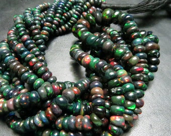 5 Strand X16 Inches Supper Top  Quality Black Ethiopian Opal Smooth Rondells Full Filshy Fire Size 6 mm To 3 mm Approx