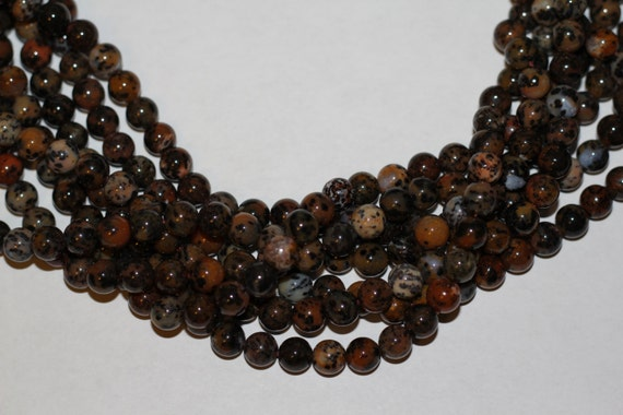 """Leopard Agate 8mm smooth round beads 16"""" length strand"""