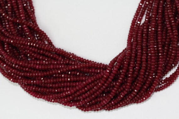 "Ruby Jade 4x2mm faceted roundel beads 16"" length full strand"