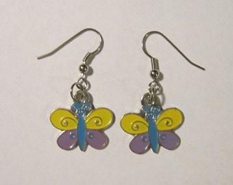 Yellow & Purple Butterfly Earrings