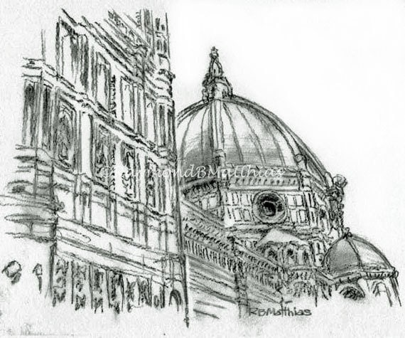 Florence Italy Duomo Pen And Ink Drawing Fine Art Black And