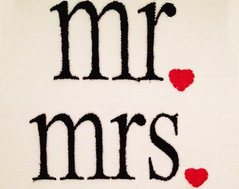 Modern Mr and Mrs machine embroidery designs for newlyweds.  Stitch them out on pillowcases as a perfect gift for the newlywed Mr. and Mrs.