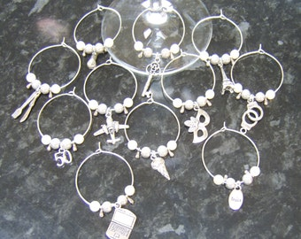 11 x Wine glass charms - 50 Fifty Shades of Grey inspired - hen party favours