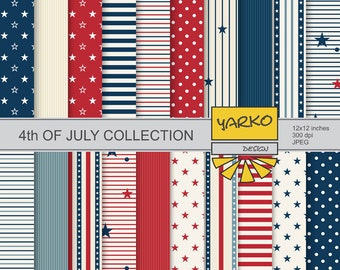 4th of July Printable Digital Paper Pack, Independence Day Paper, 4th of July Paper, Patterned Paper, Patriotic Scrapbook Paper - YDP001