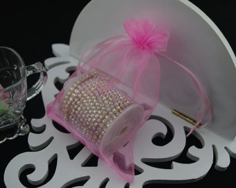50 4 x 6 Pink Organza Jewelry Gift Pouch Bags Great For Wedding favors, sachets, beads, jewelry, and more