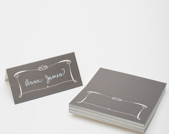 Wedding Place Cards (25), Romantic Place Cards, Gray Place Cards, Escort Cards, Calligraphy Place Cards, Wedding Paper