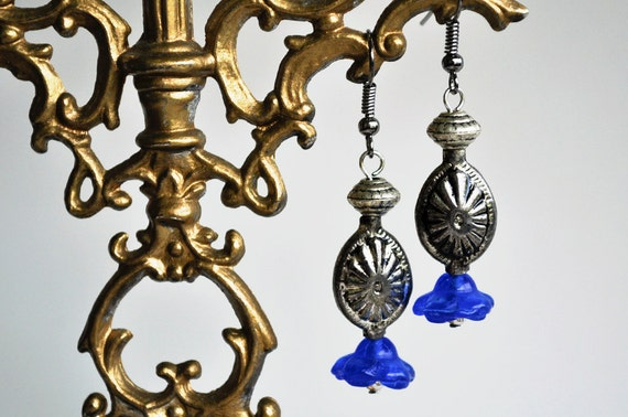 Blue glass flower dangle earrings