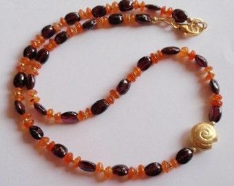 Garnet Necklace, Garnet Pendant  (JK 638)