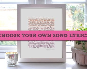 Song Lyrics Print, Wife Gift, Personalised Art, Groom Gift, Wedding Present, First Dance, First Anniversary Gift, Custom