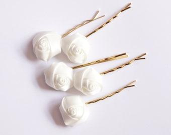 Bridal Hair Accessories, White Rose, White flower Hair Bobby Pin, Brass Bobby pin- set 5
