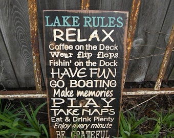 Lake Rules Sign Carved Customized Cabin Rules Cottage Rules River River Lodge Rules or Beach Rules Sign Engraved 11x24