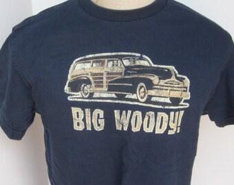 Navy Tee Shirt Vintage 80's -BIG WOODY-Surf Wagon Safari Surfboard Beach Ocean