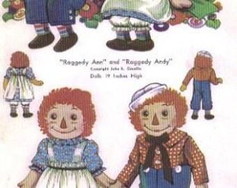 Raggedy Ann & Andy  Dolls  Pattern 820  - Photocopy