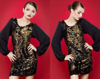 Reversible Sequin Dress, Sequin Dress, Gold Sequin Dress, Black Sequin Dress, S,M,L,XL, Custom sizes